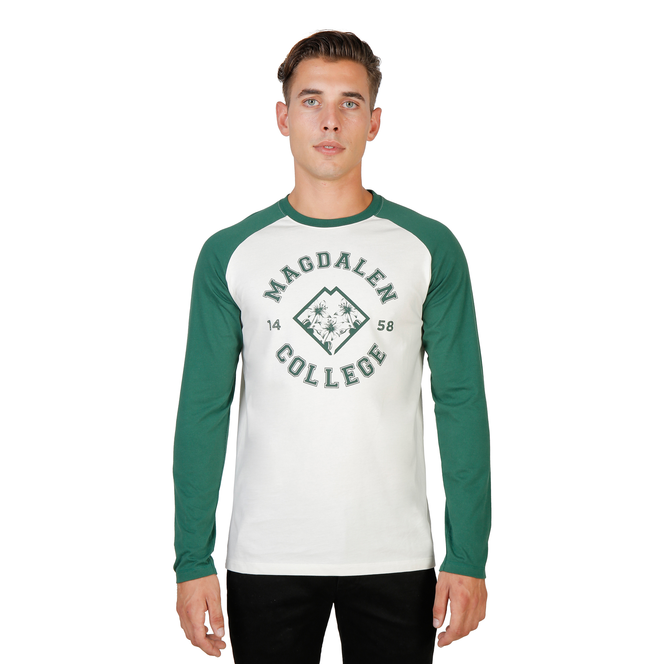 Tee-shirts  Oxford University MAGDALEN-RAGLAN-ML green