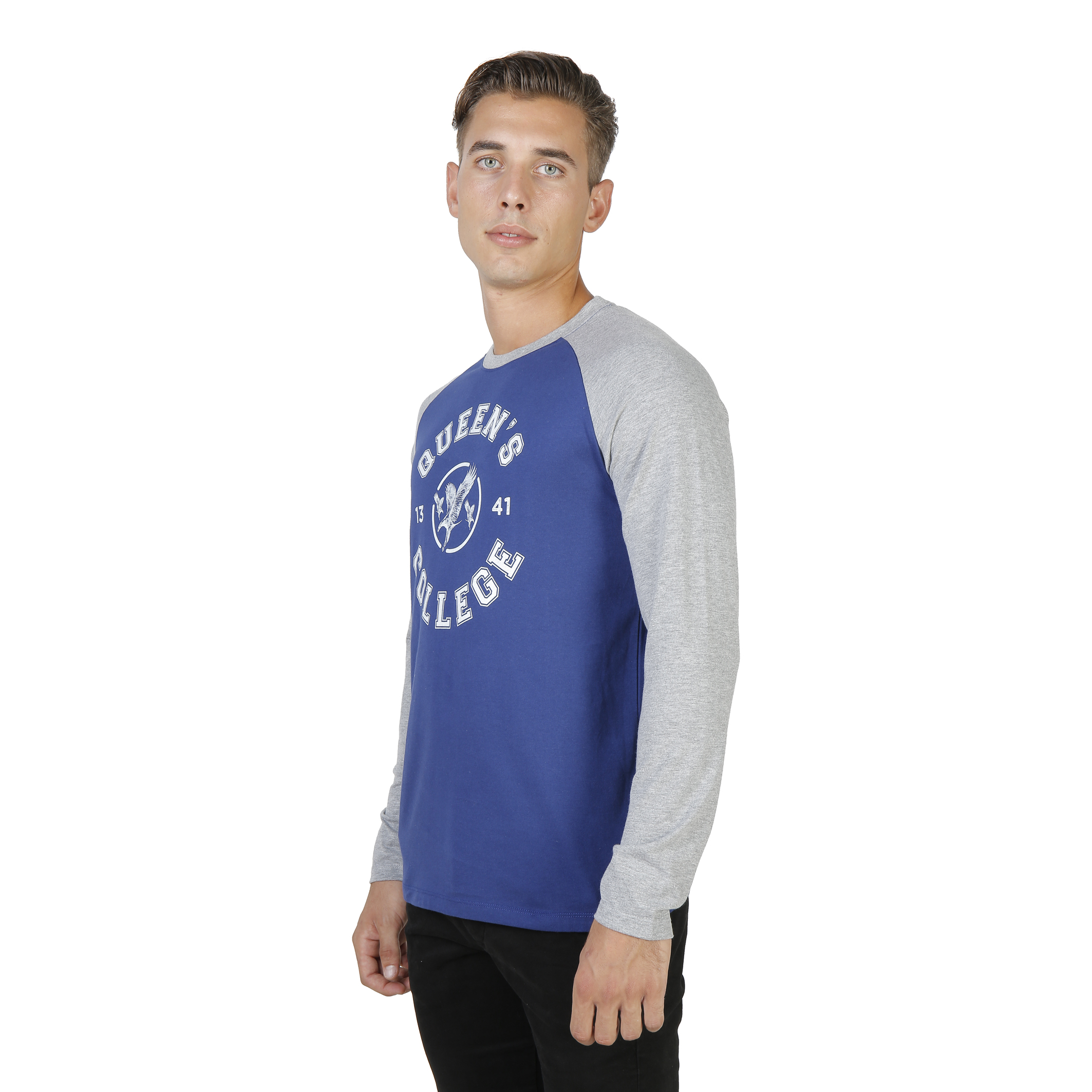 Tee-shirts  Oxford University QUEENS-RAGLAN-ML blue