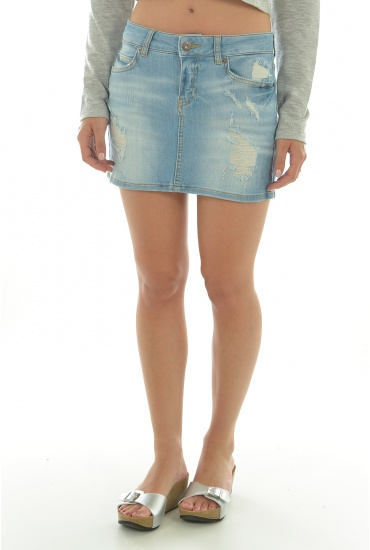 CANDY LW DENIM MINI SKIRT BA294 - FEMME VERO MODA