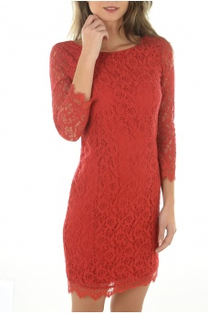 PAULINE 4/5 LACE SHORT DRESS - FEMME ONLY