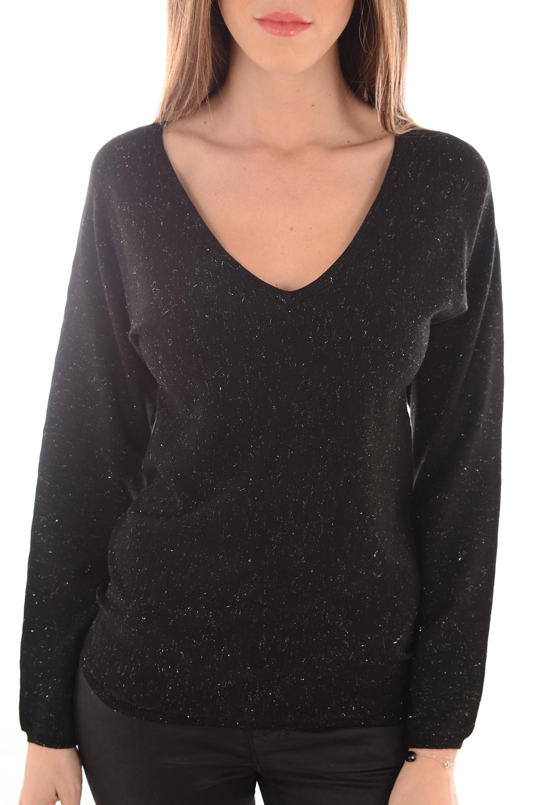 Pulls & gilets  Vero moda GLORY LENA LS V NECK BLOUSE BLACK/W SILVER