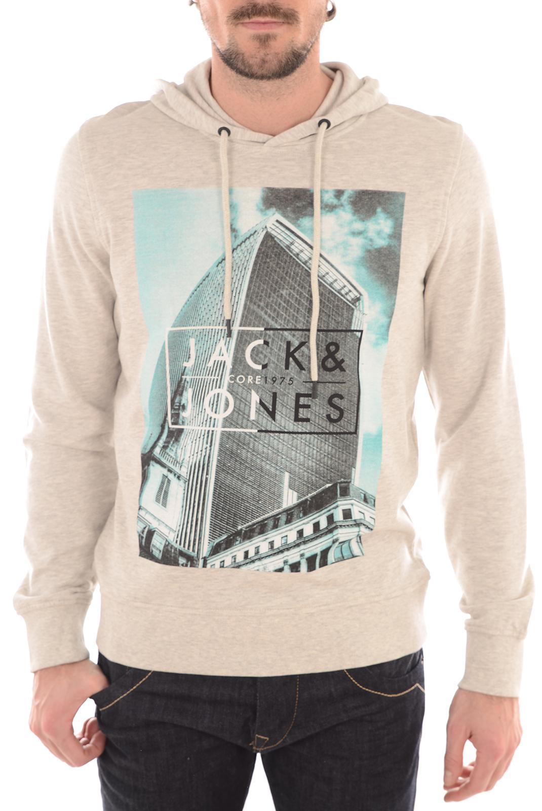 Pulls & Gilets  Jack & Jones HIDE 2 SWEAT HOOD TREATED WHITE