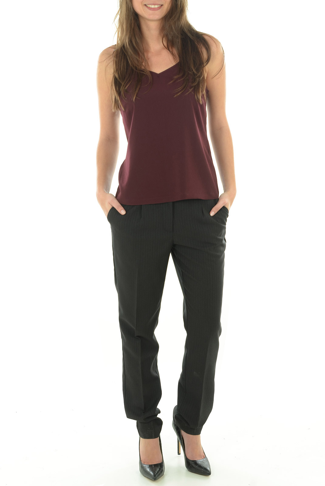 Pantalons  Vero moda PINSTRIPED PANT LCS BLACK
