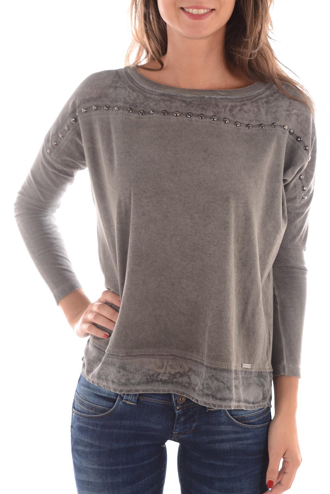 tee shirt manches longues femme pepe jeans pl501642 chestnut 975 dk grey. Black Bedroom Furniture Sets. Home Design Ideas