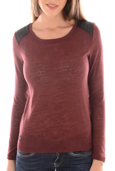 MARY LS PU TOP ESS - FEMME ONLY