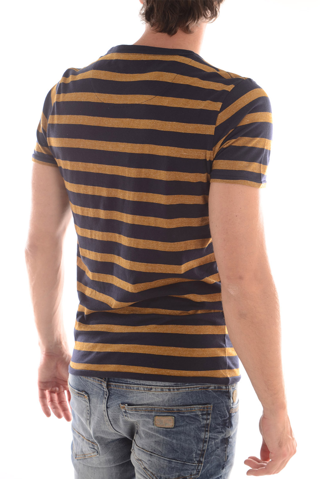Tee-shirts  Selected ANTON SS O NECK H GOLDEN BROWN NAVY