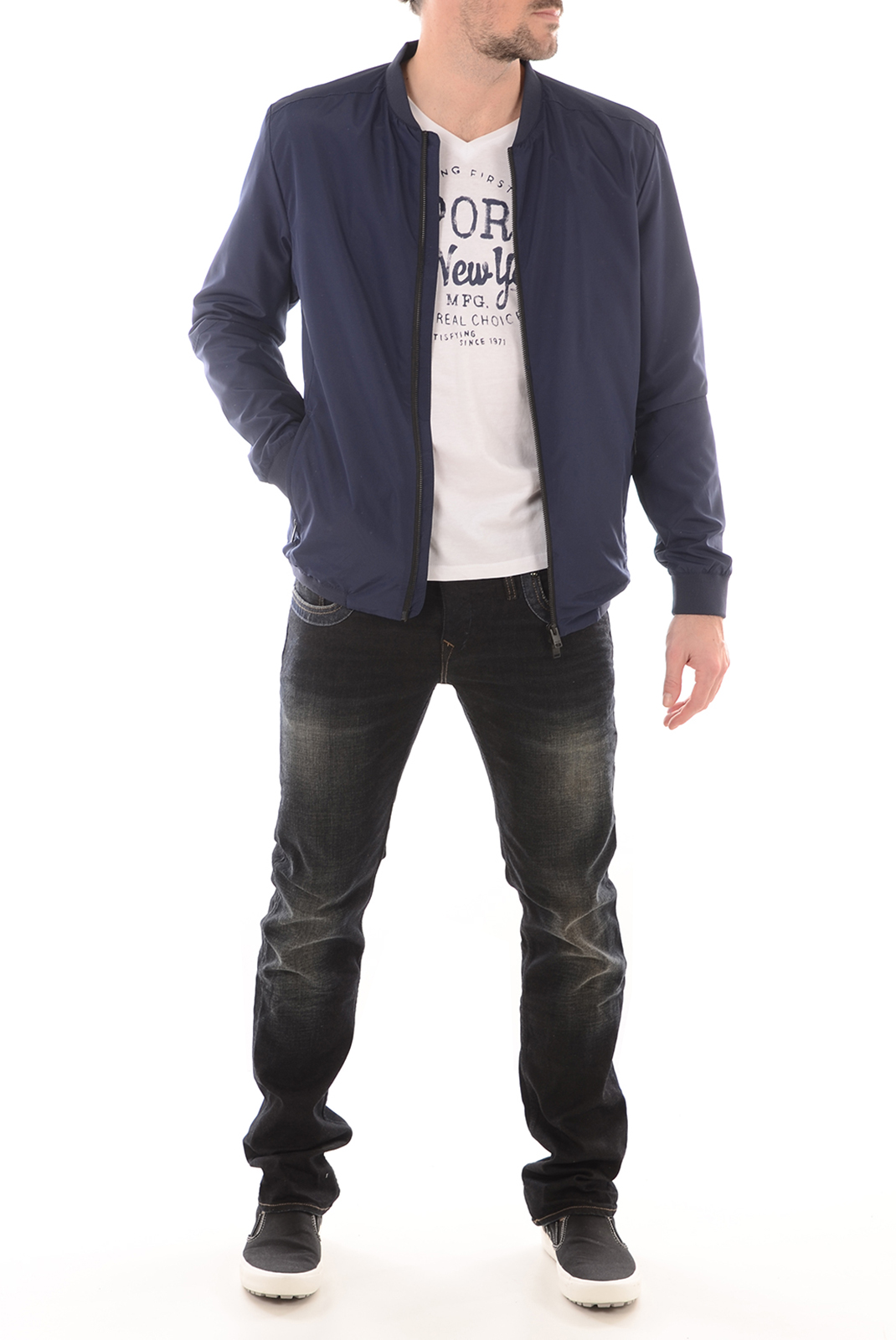 HOMME  Selected LUKE BOMBER JACKET MEDIEVAL BLUE