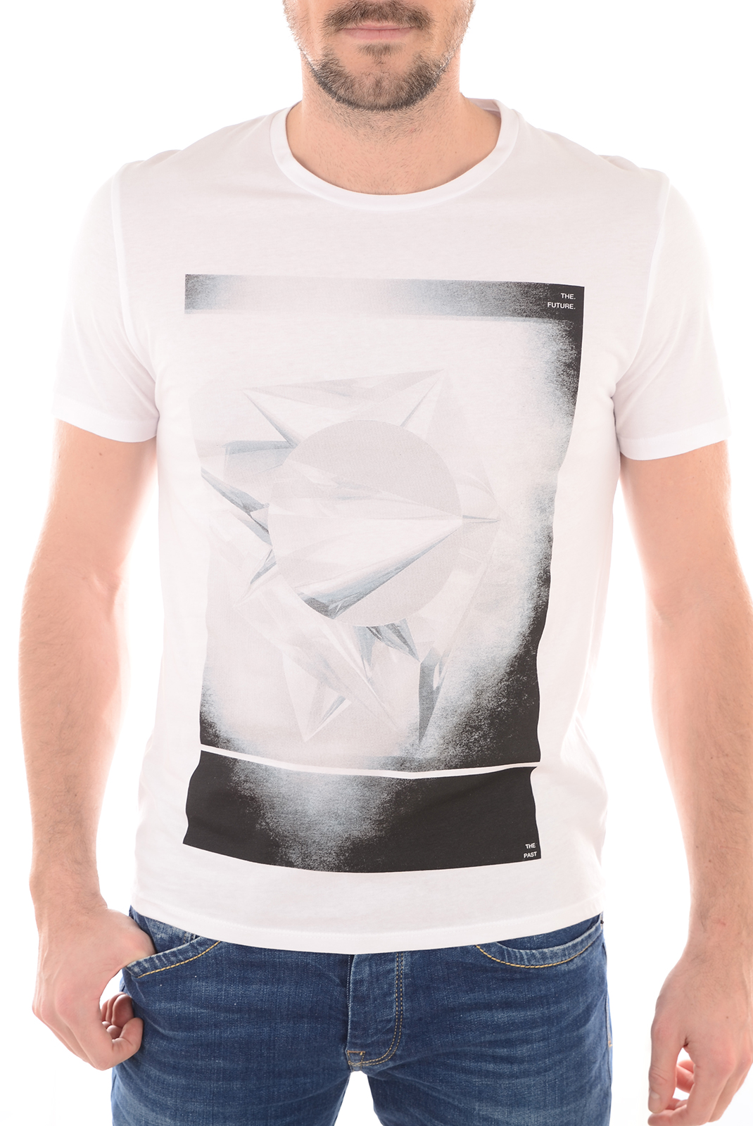 Tee-shirts  Selected DYORK  SS O-NECK BRIGHT WHITE GEO2