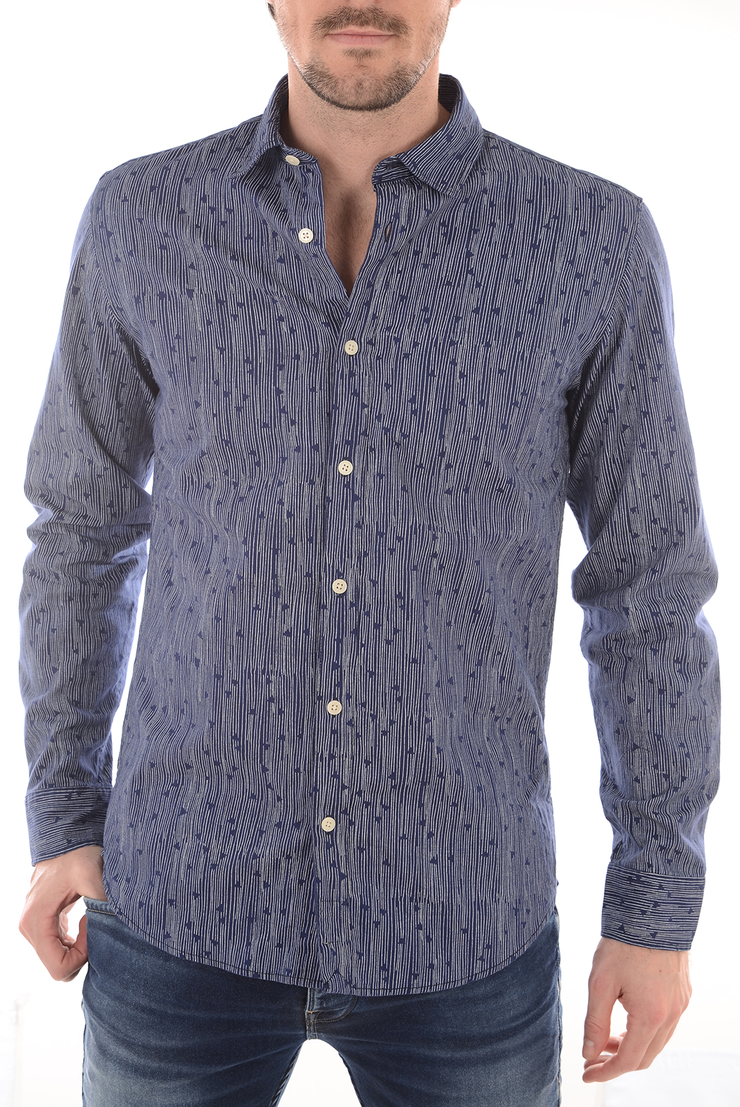 Chemises   Selected ONEVIC SHIRT LS MEDIEVAL BLUE/ WHITE STRI