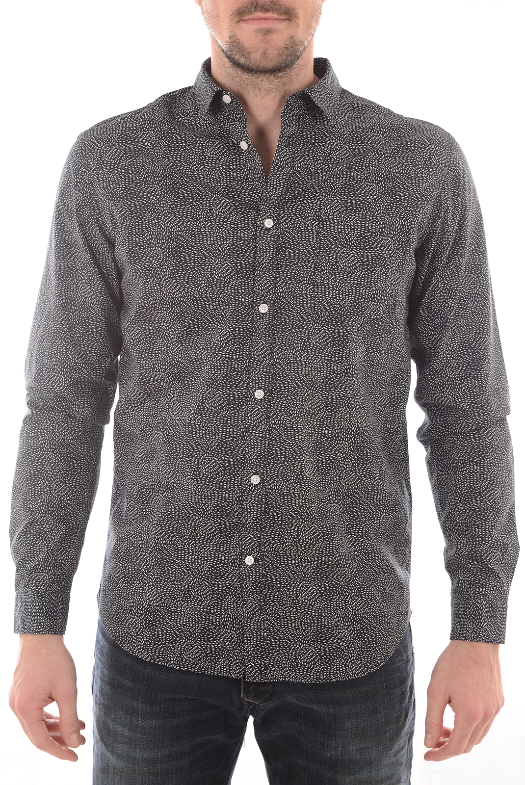 Chemises   Selected DONEBENSON SHIRT LS JET BLACK W PAPYRUS