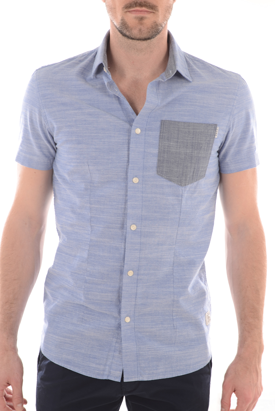Chemises   Jack & Jones ALTON S/S ONE POCKET LIGHT BLUE DENIM