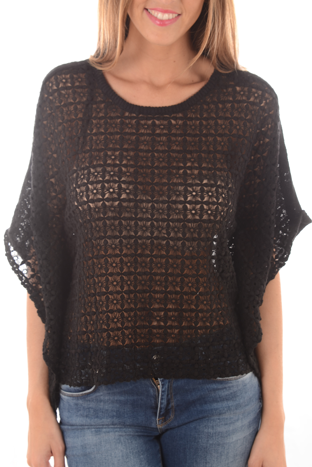 Top   Only AMYA KNT PONCHO BLACK