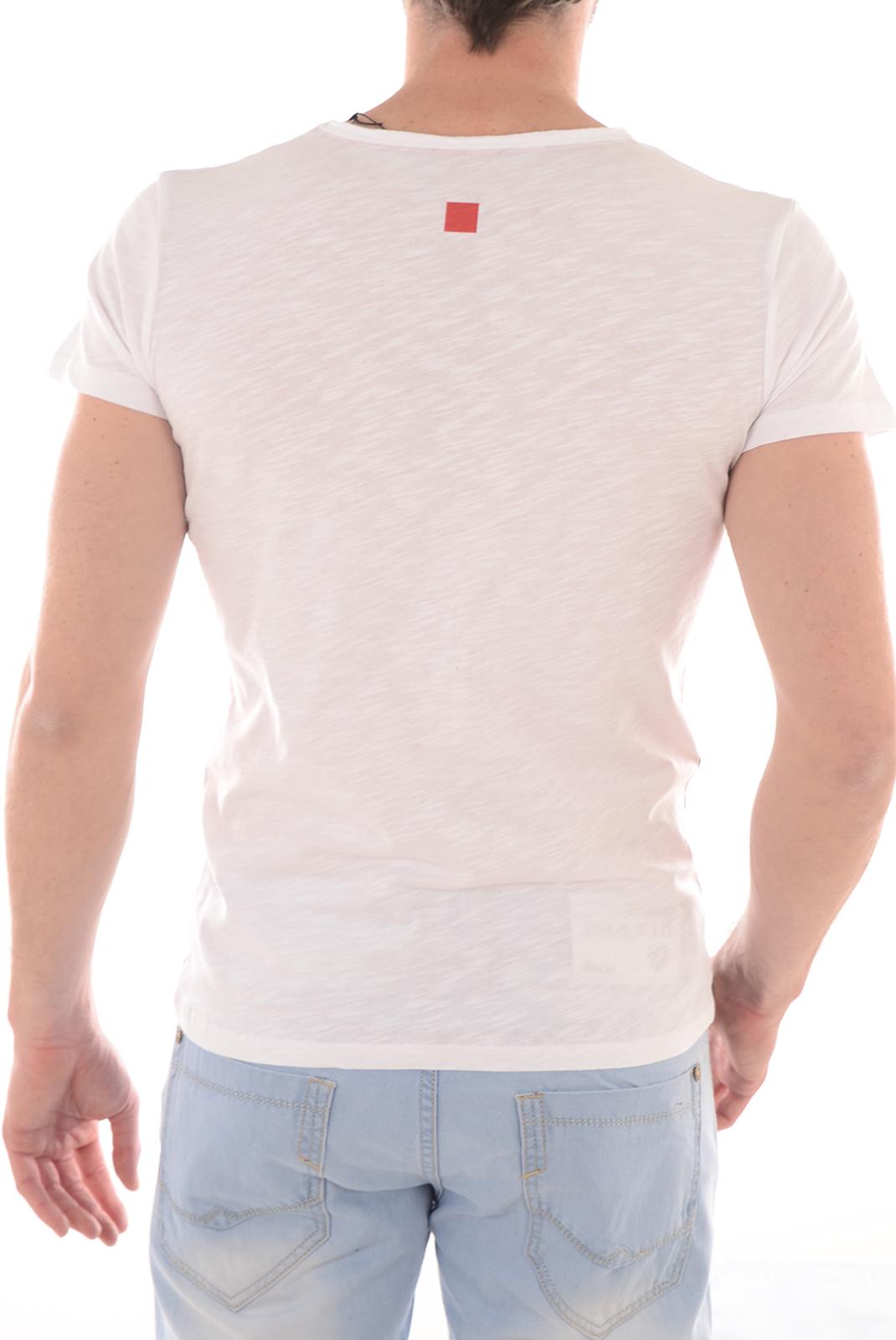 Tee-shirts  Manu hancock MOTOSURF COL V WHITE