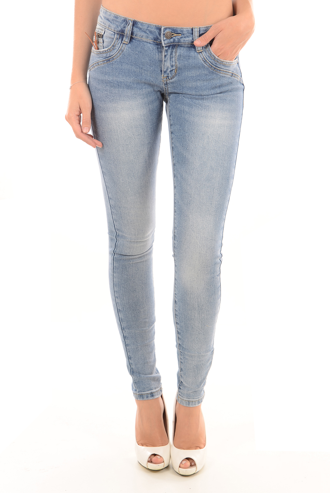 Jeans   Vero moda FIVE LW SLIM ZIP GU332 LIGHT BLUE DENIM