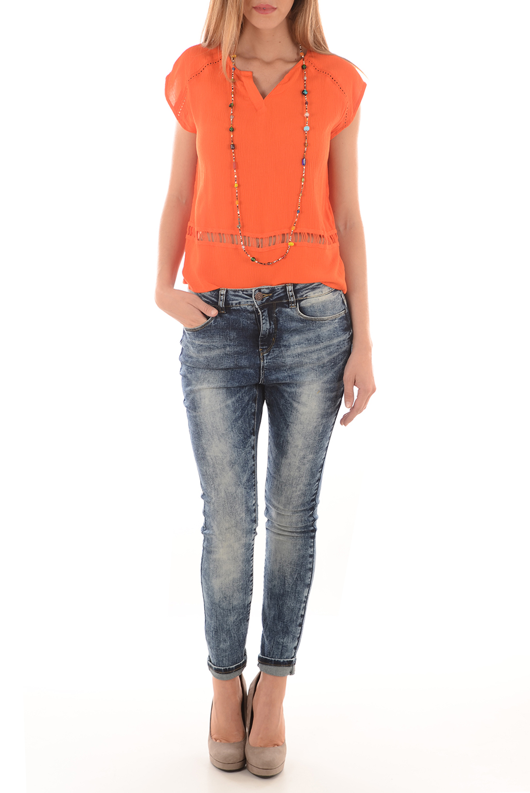 Tops & Tee shirts  Vero moda CRINKLA  SS TOP A MANDARIN RED