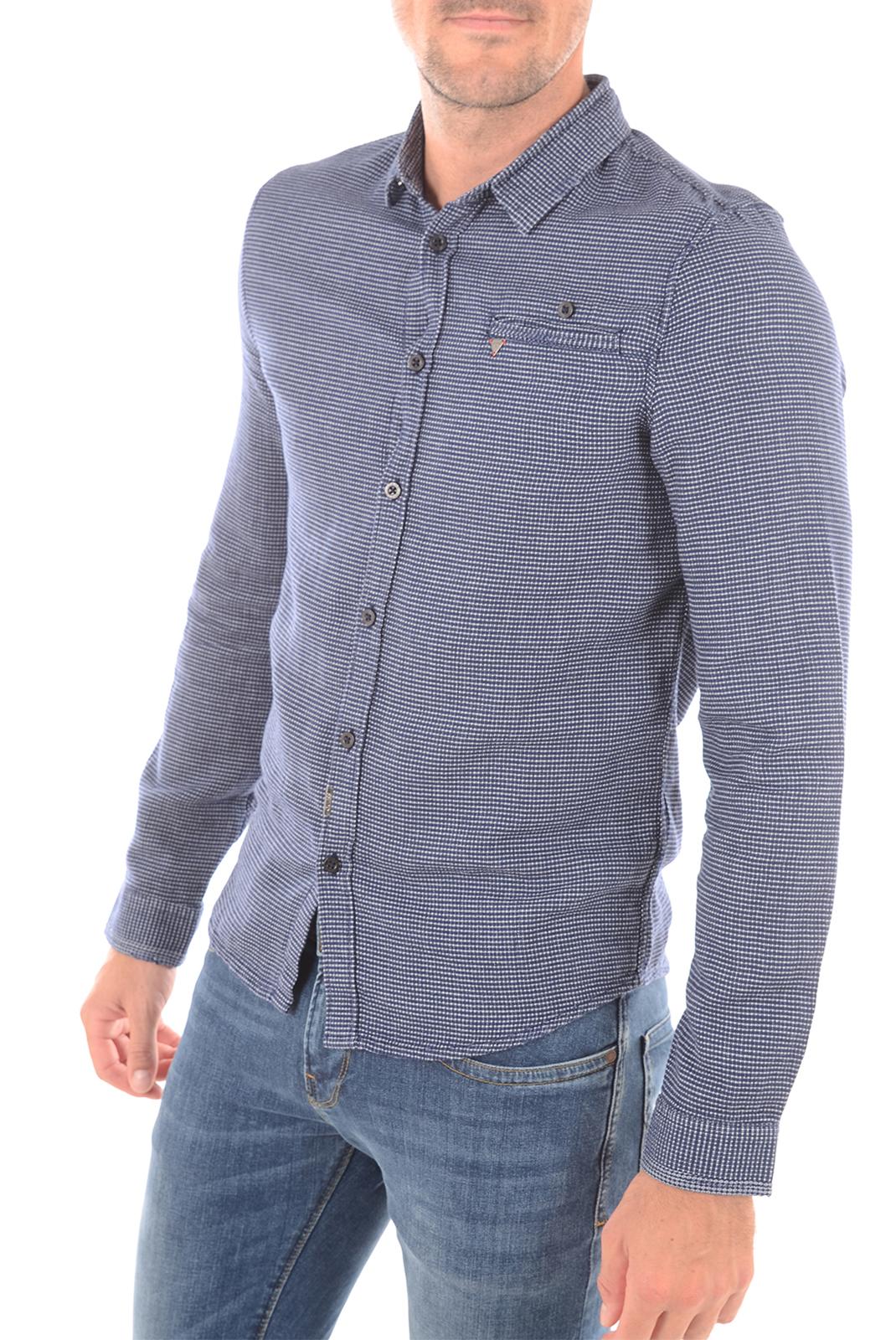 Chemises   Guess jeans M63H40W7Q70 L796 BLEU BLANC