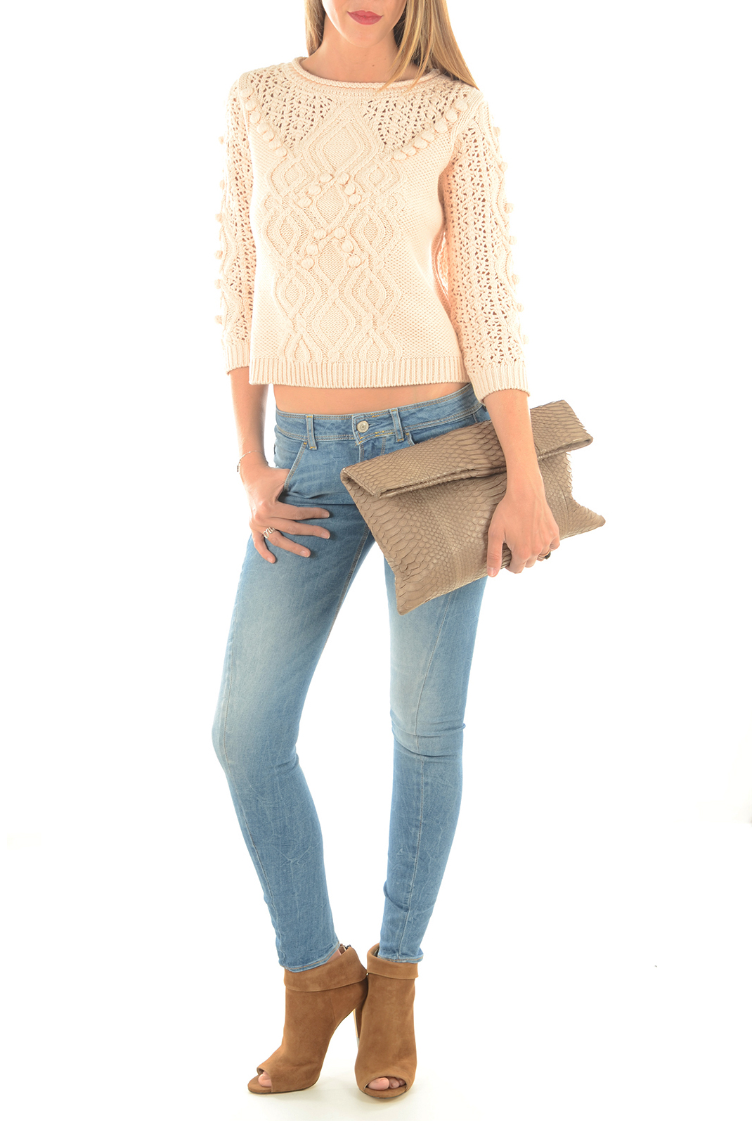 Pulls & gilets  Vero moda ORCHIDA 3/4 SHORT CREAM TAN