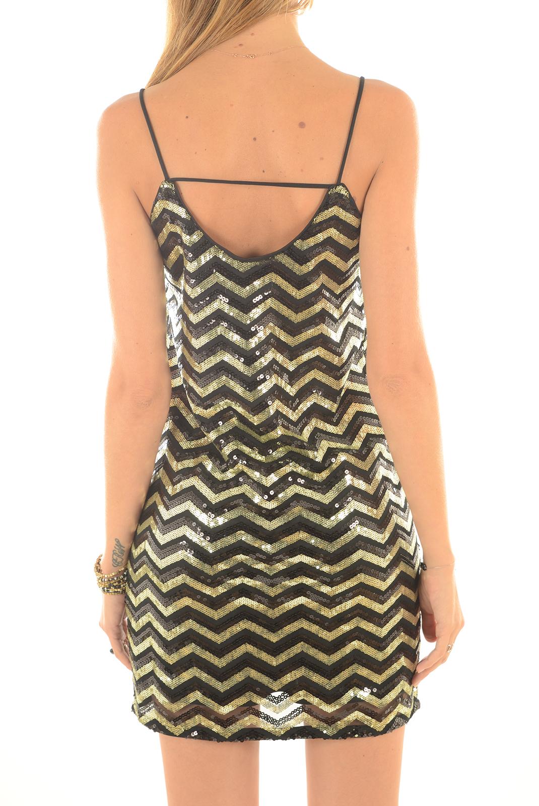 FEMME  Vero moda LINN SEQUIN SIGLET DRESS BLACK GOLD