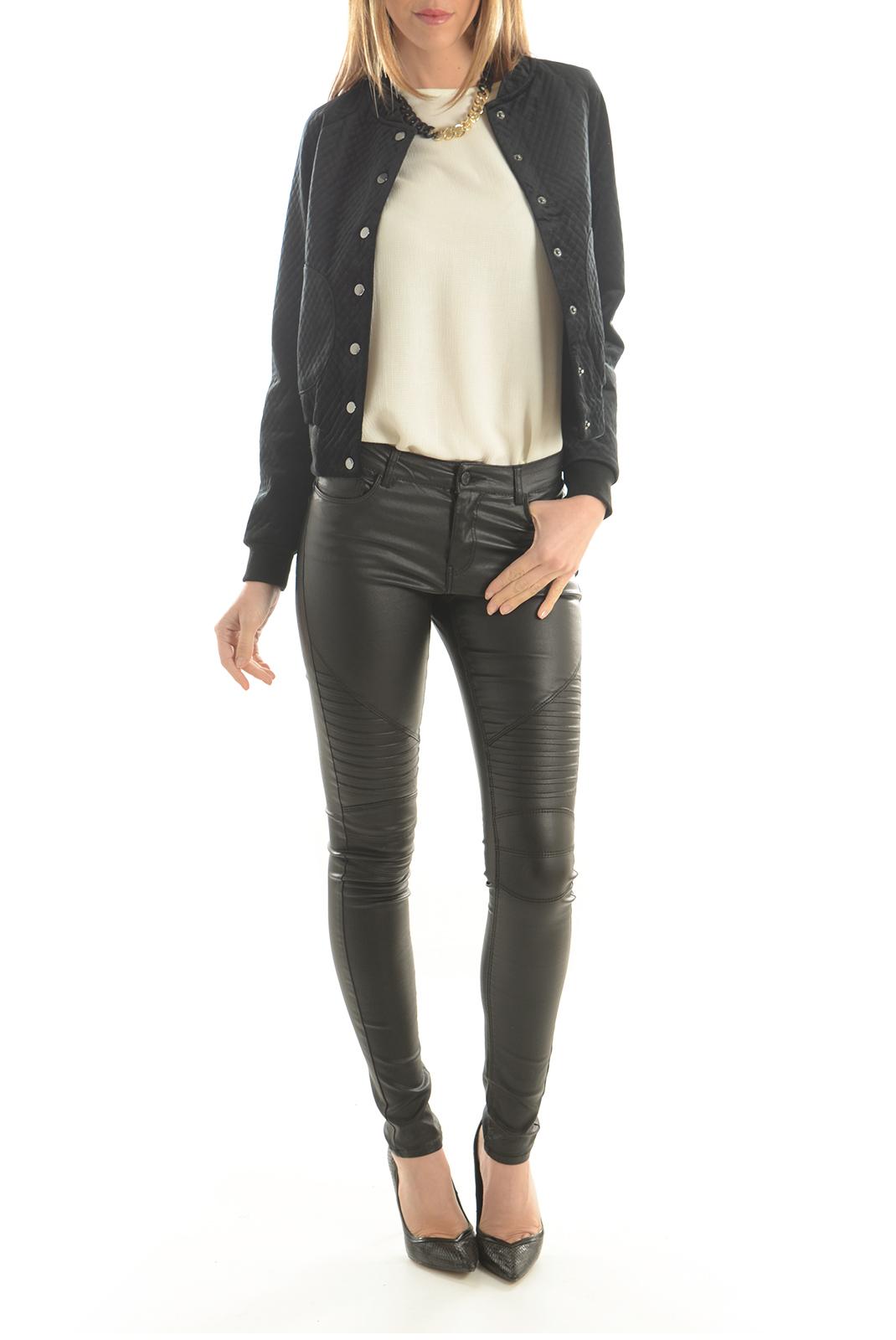 Jeans   Noisy May LUCY NW COATED BIKER JEANS NOOS BLACK
