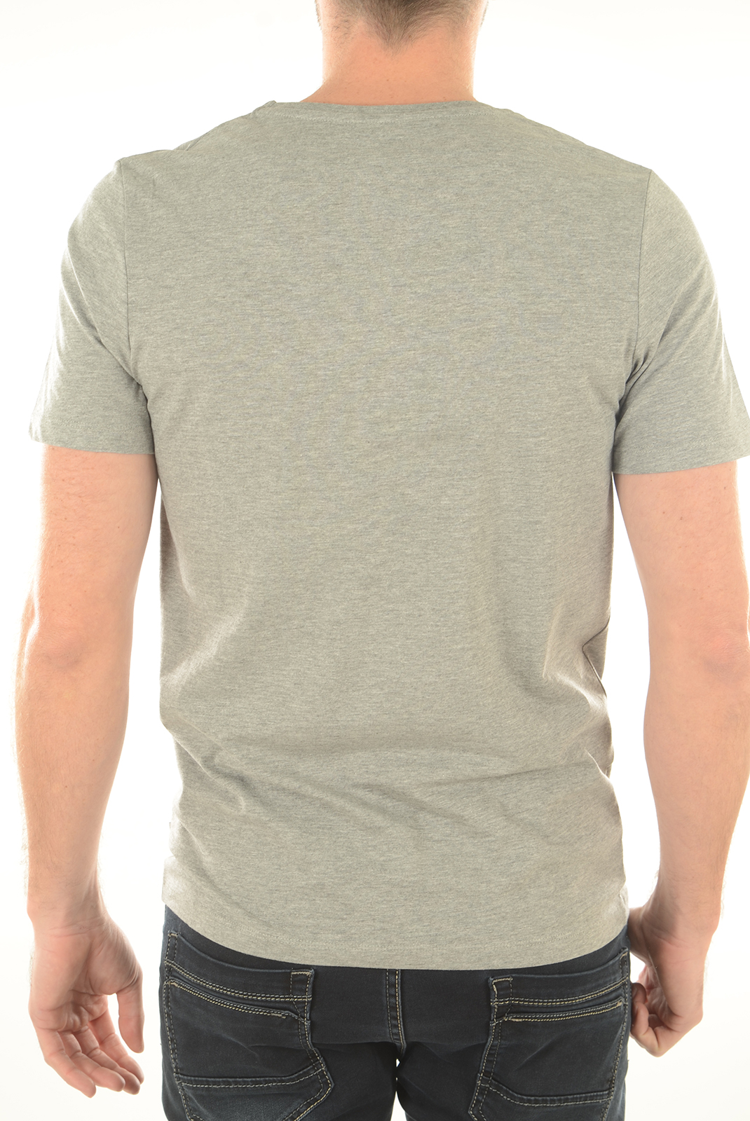 Tee-shirts  Jack & Jones VEE NECK BASIC LIGHT GREY