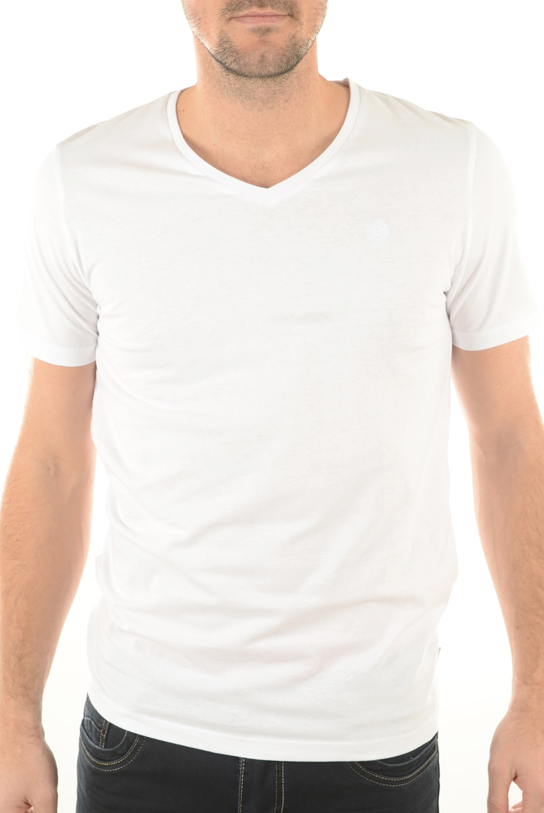 Tee-shirts  Jack & Jones VEE NECK BASIC WHITE