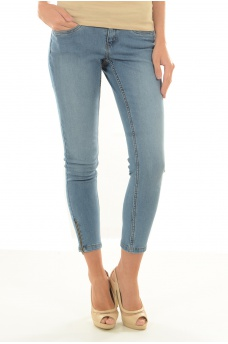 EVE LW SS ANKLE ZIP JEANS LT BL NOOS - MARQUES NOISY MAY