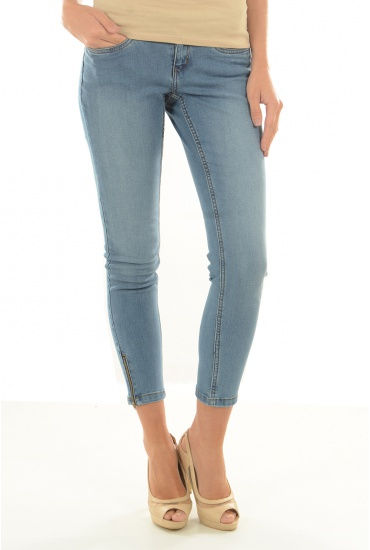 MARQUES NOISY MAY: EVE LW SS ANKLE ZIP JEANS LT BL NOOS