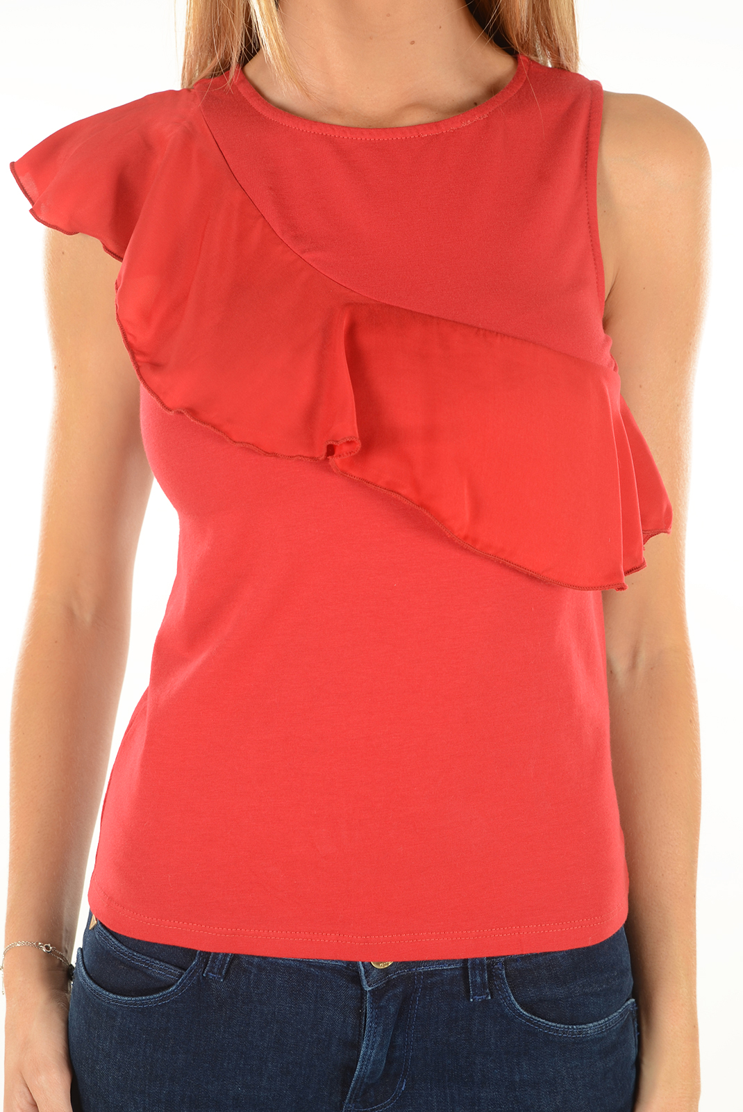 Tops & Tee shirts  Only BINA S/L FRILL TOP JESTER RED