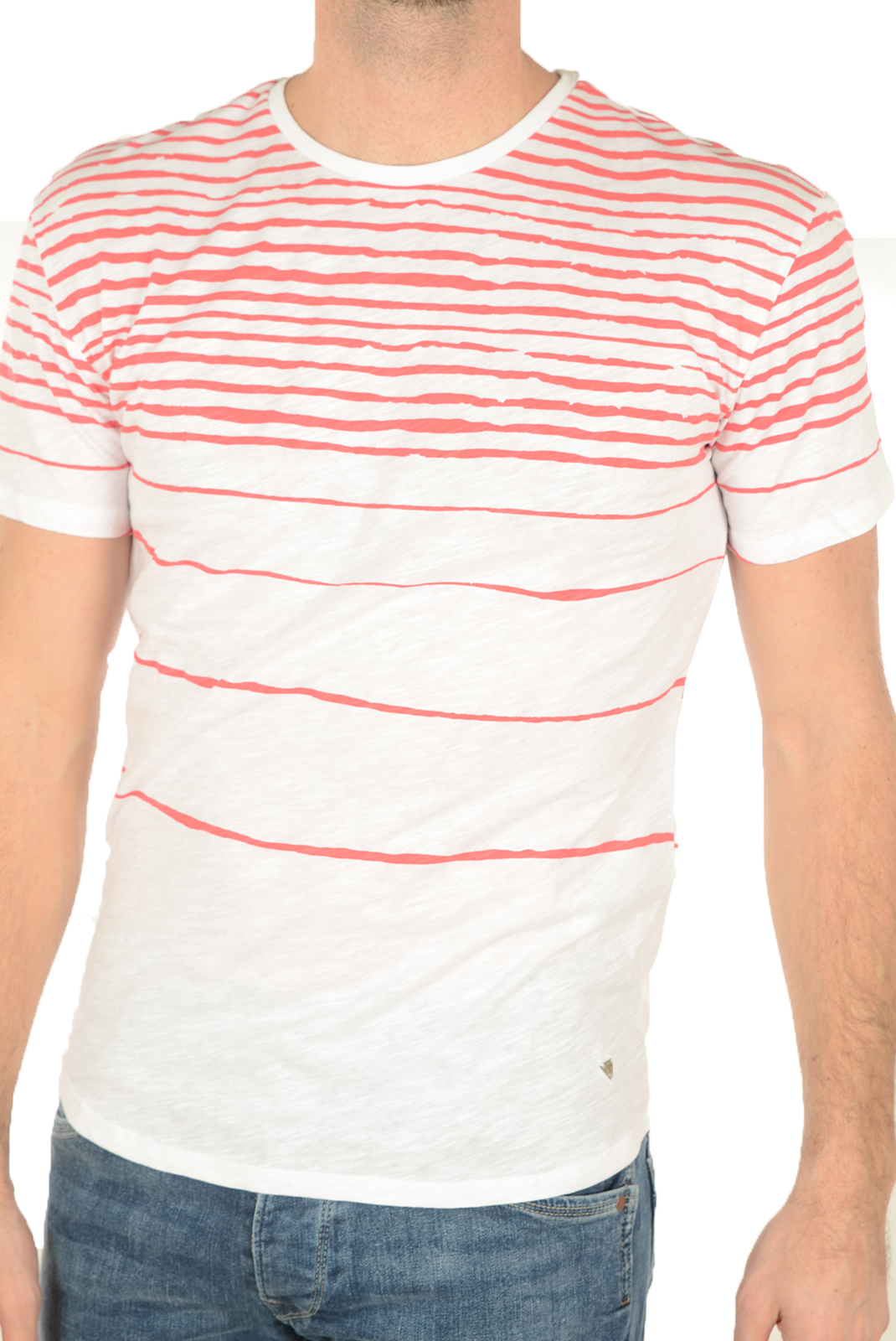 T-S manches courtes  Guess jeans M72P27 K4YI0 A543 BLANC ROUGE
