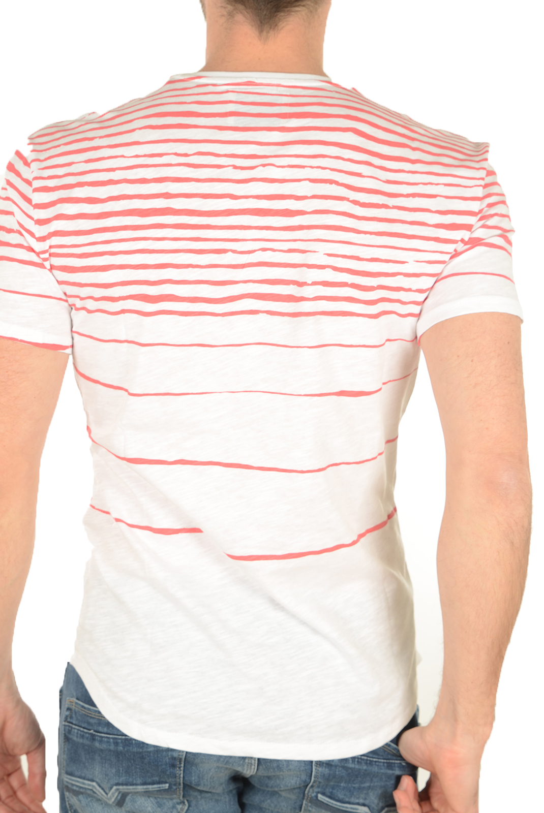 Tee-shirts manches courtes  Guess jeans M72P27 K4YI0 A543 BLANC ROUGE