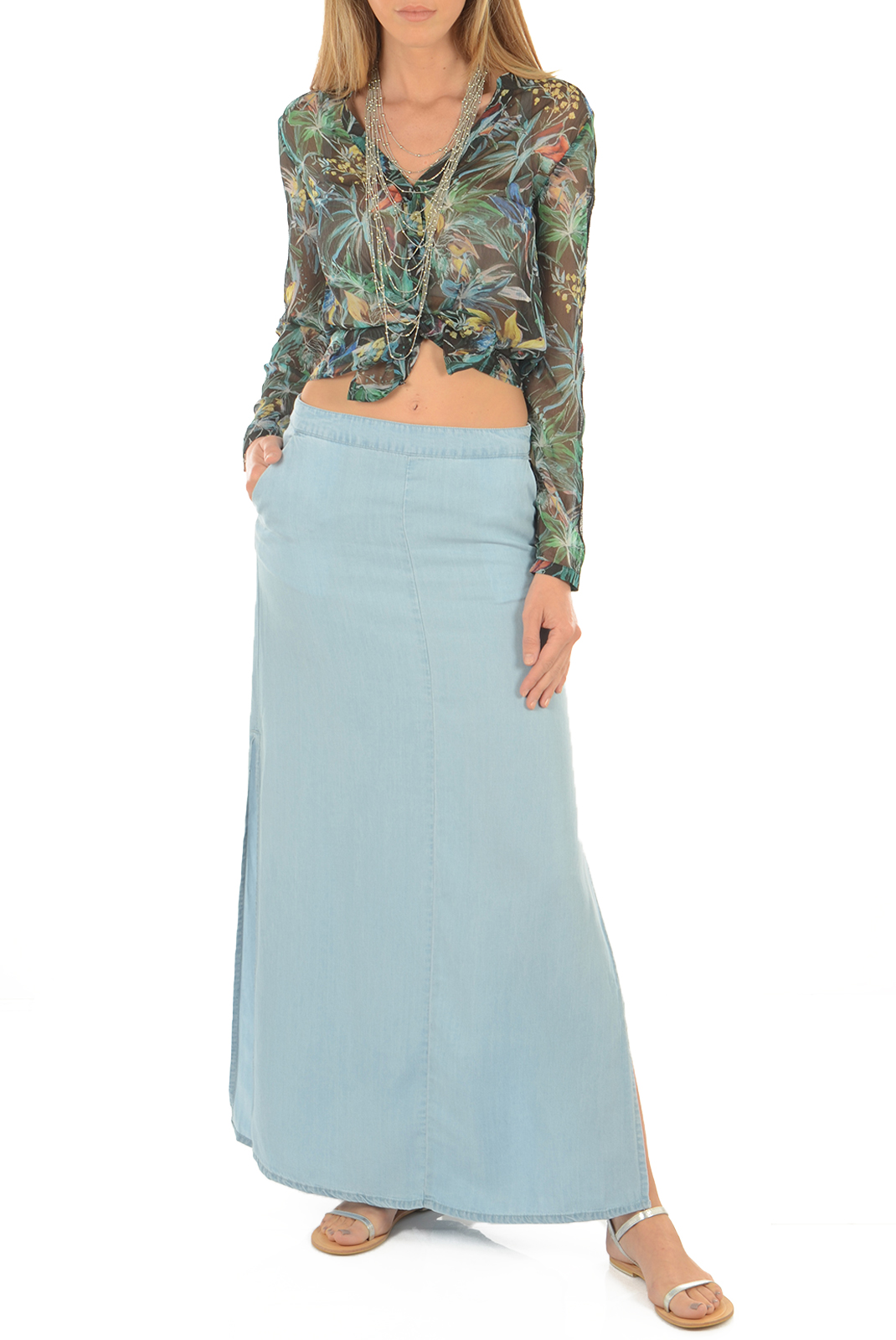 Jupes  Noisy May NESLI NW MAXI SKIRT LIGHT BLUE DENIM