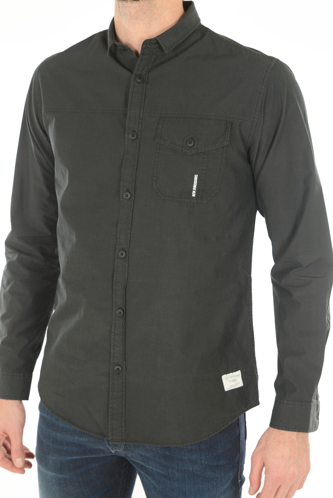 Chemises manches longues  Jack & Jones SOLID SHIRT L/S BLACK
