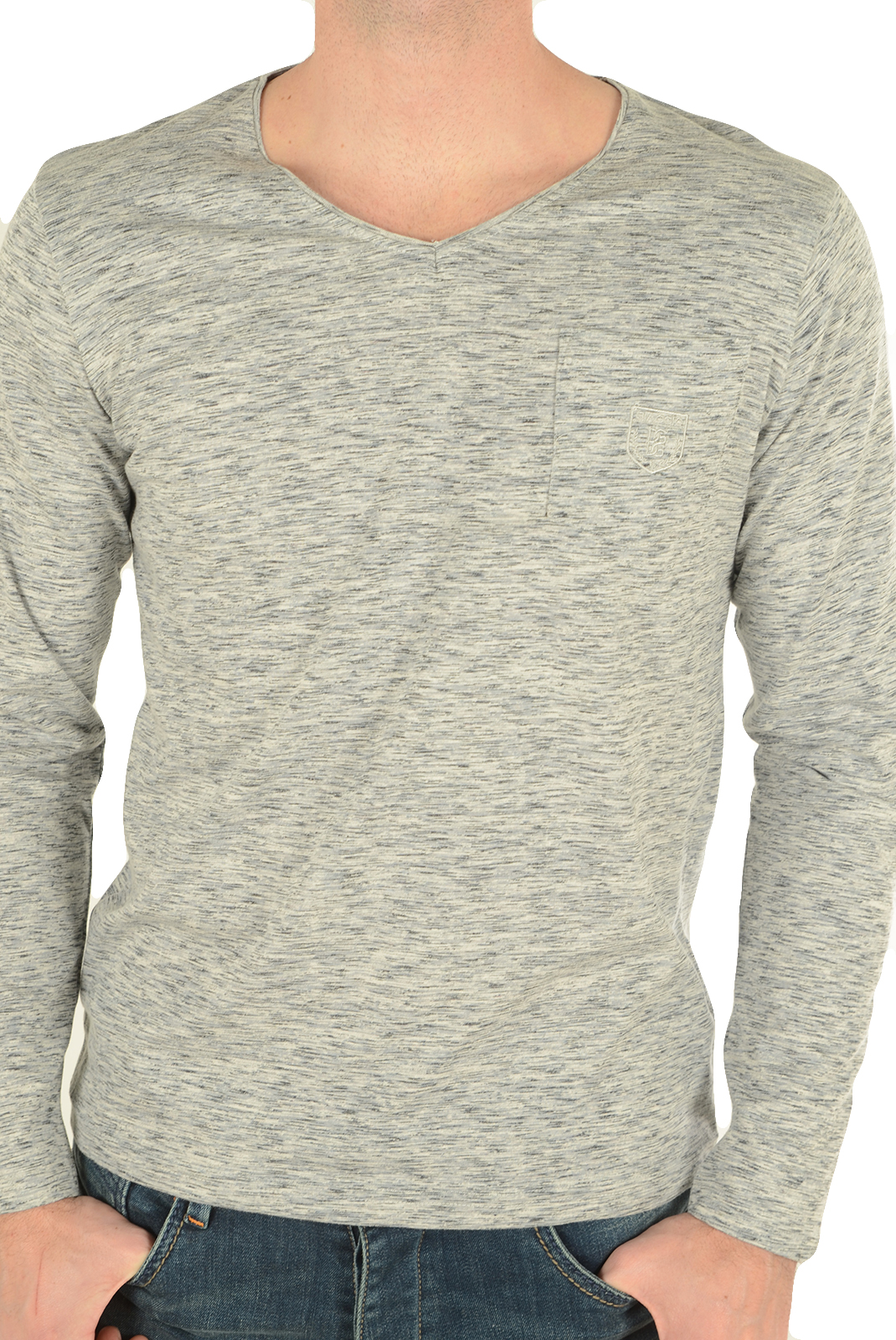 Tee-shirts manches longues  Biaggio jeans LUBOKIL LT GREY BLACK