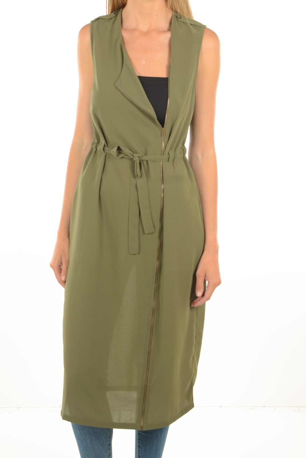 FEMME  Noisy May CAMIL S/L LONG WAISTCOAT 3 IVY GREEN