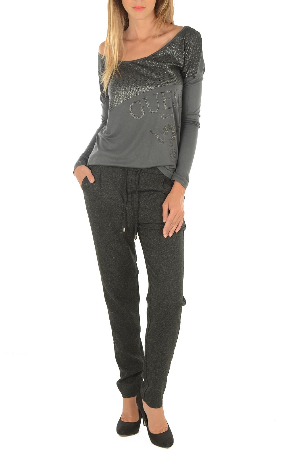 Pantalons  Vero moda RORY NW LOOSE SP STRING PANT BLACK/SALT AND P