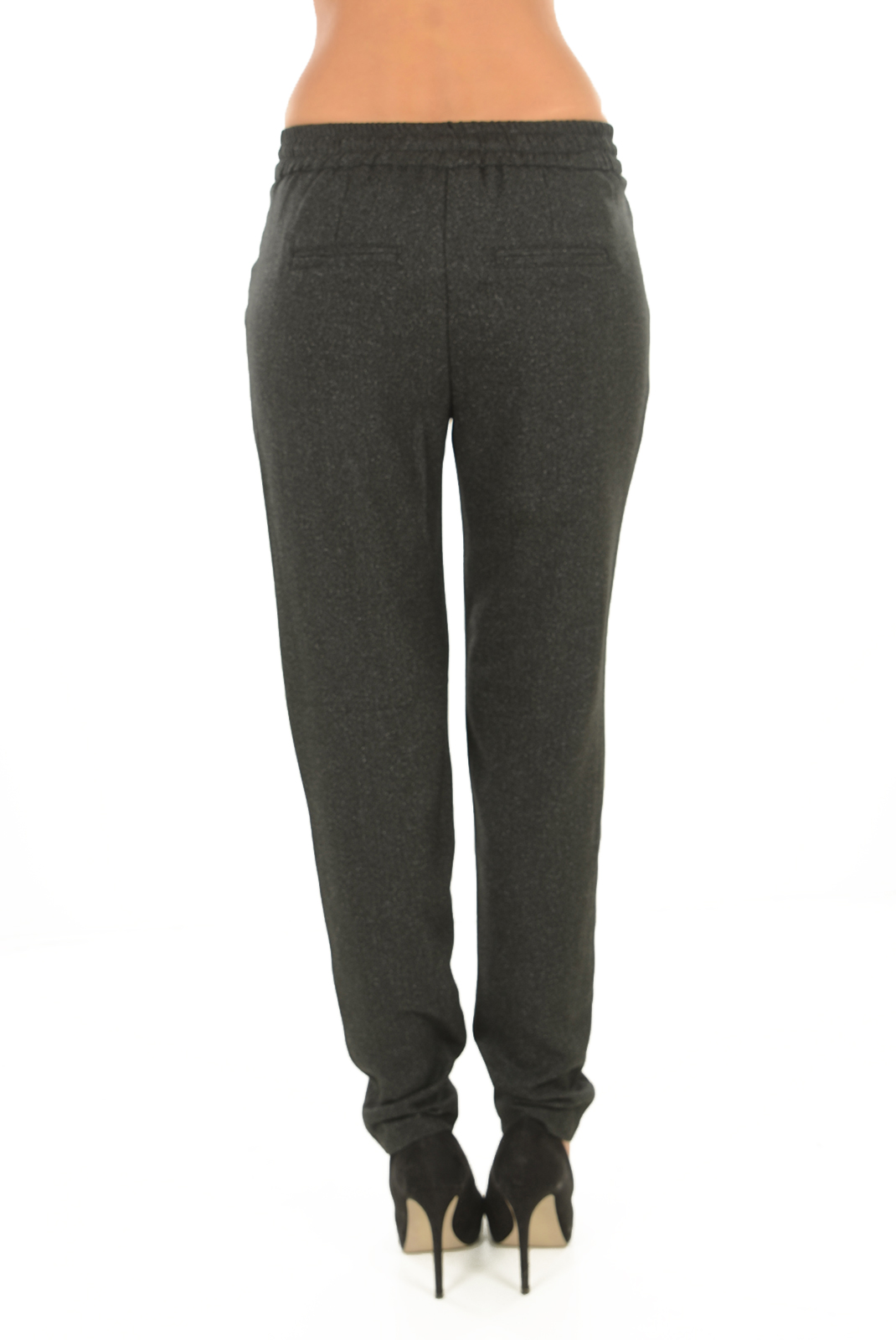 Pantalons  Vero moda RORY NW LOOSE SP STRING PANT BLACK/SALT AND P