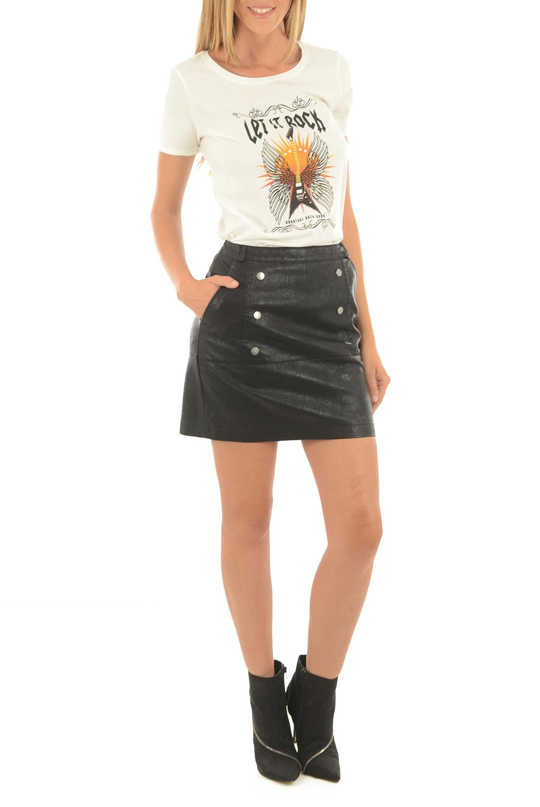 Jupes  Vero moda CAMEO NW SHORT PU SKIRT BLACK BEAUTY