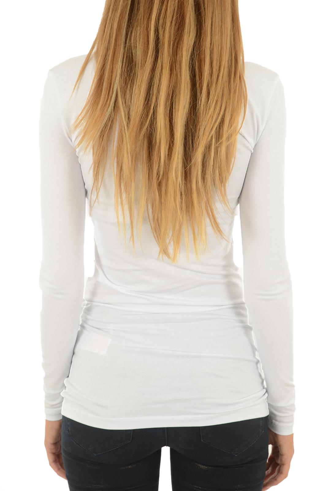 Tee shirt manches longues  Vero moda MAXI MY LS SOFT LONG U-NECK BRIGHT WHITE