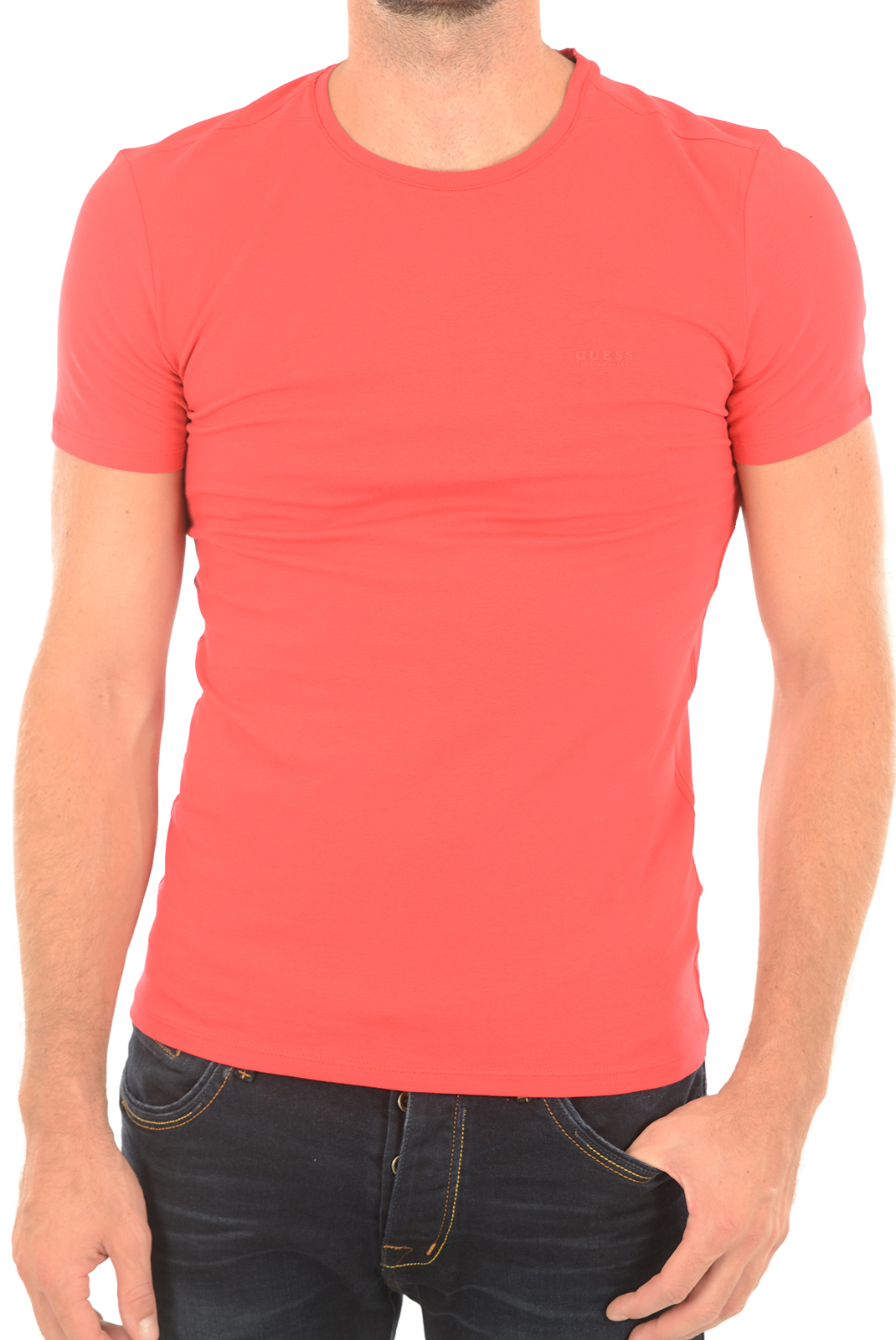 Tee-shirts  Guess jeans M73I56 J1300 C502 ROUGE