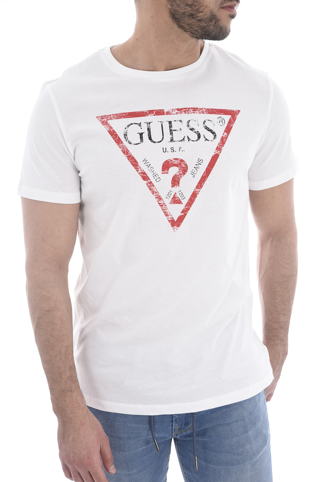 T-S manches courtes  Guess jeans U82I00 I3Z00 A009 OPTIC WHITE