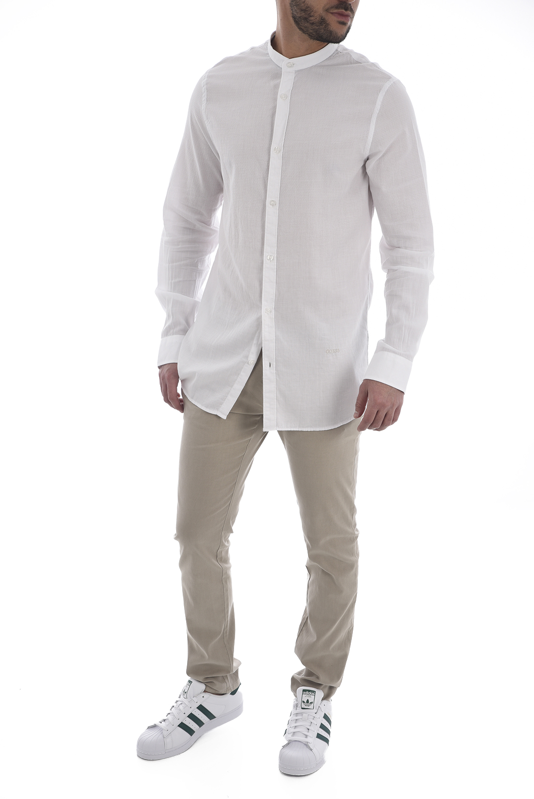 Chemises manches longues  Guess jeans M82H19 W9WT0 F0D5 WHITE