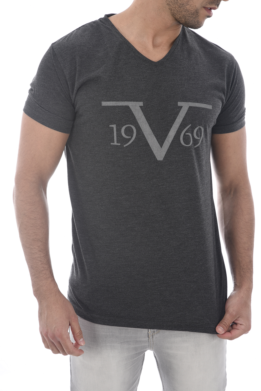 T-S manches courtes  19V69 by Versace 1969 SALERNE GRIS
