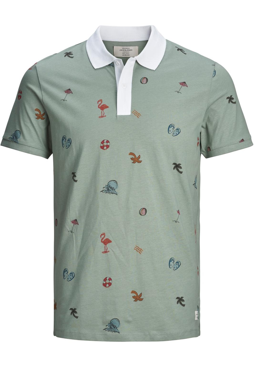 Tee-shirts  Jack & Jones SCRIPLE POLO CHINOIS GREEN