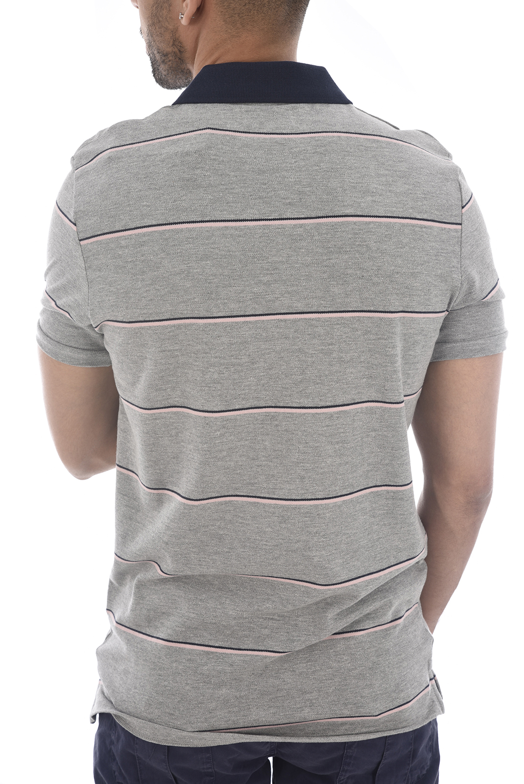 Polos  Jack & Jones STRIPE POLO LIGHT GREY