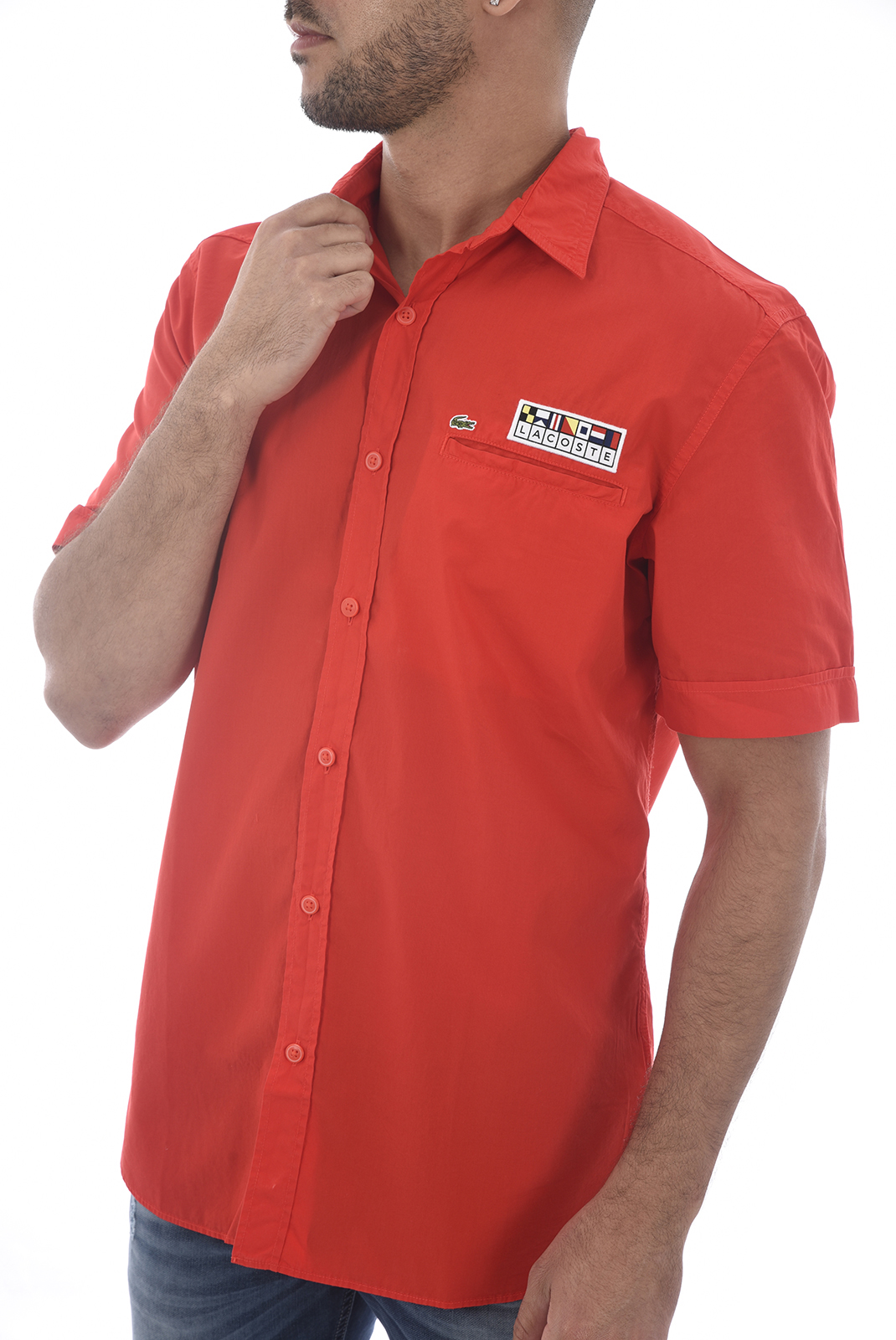 Chemises manches courtes  Lacoste CH6115 WTU POMPIER