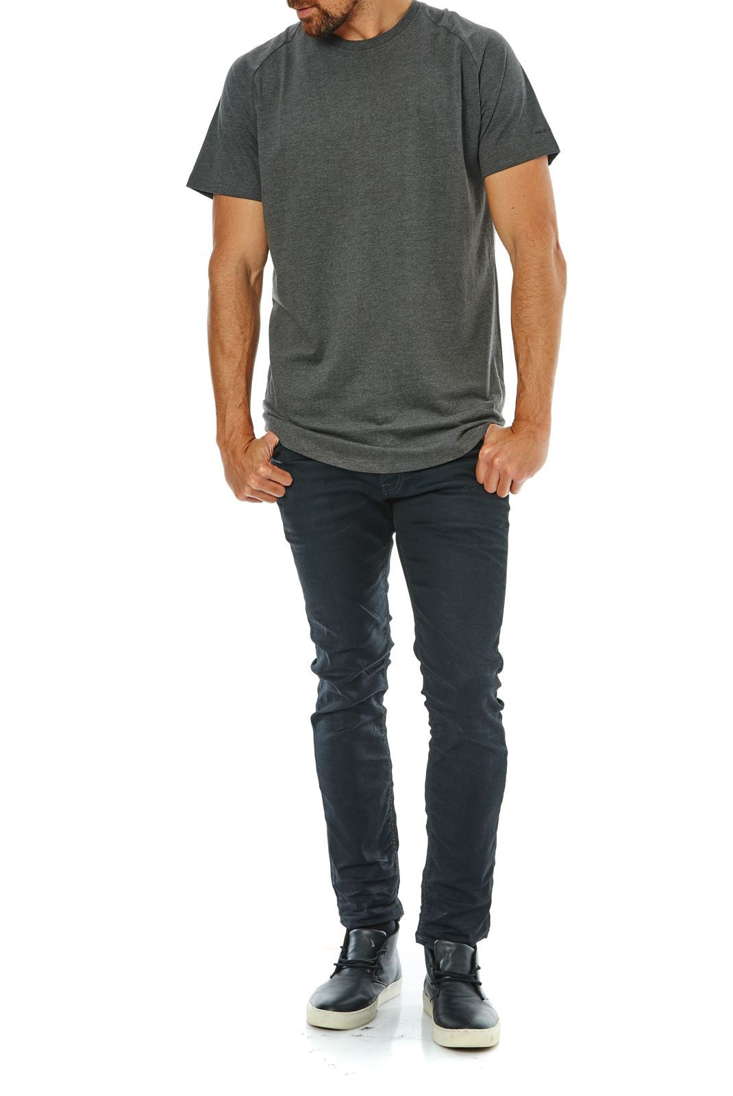 Tee-shirts  Jack & Jones RAFE TEE DARK GREY