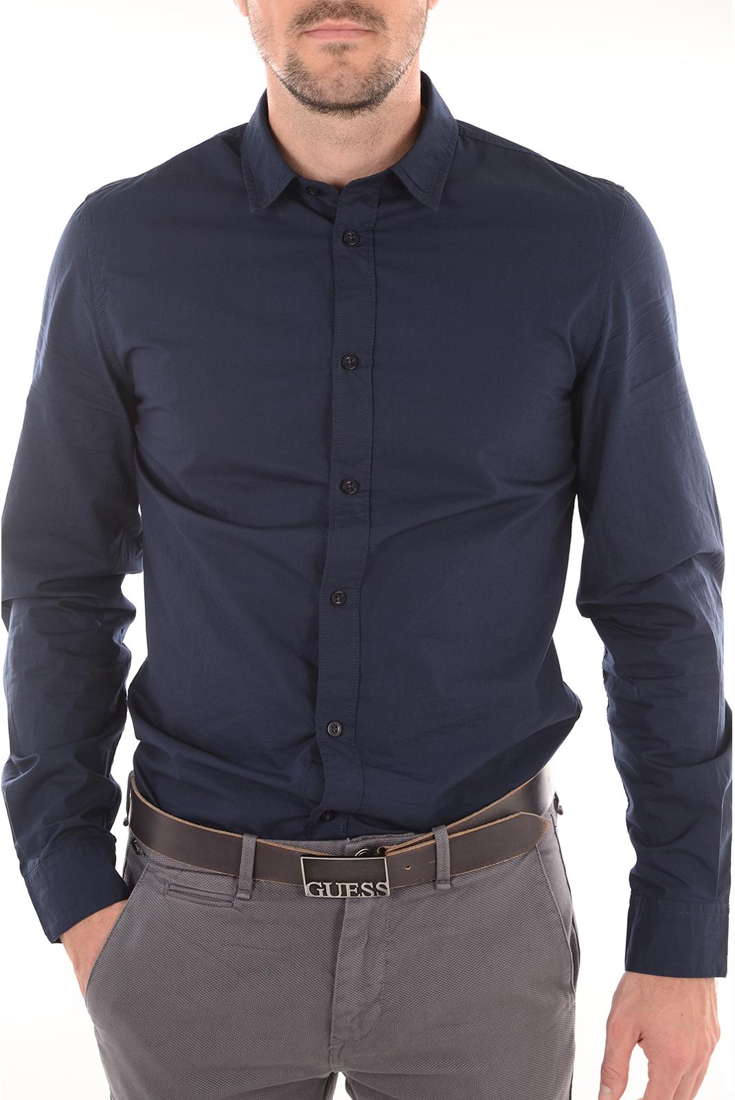 Chemises manches longues  Guess jeans M81H38 W7ZK0 G720 BLEU NAVY