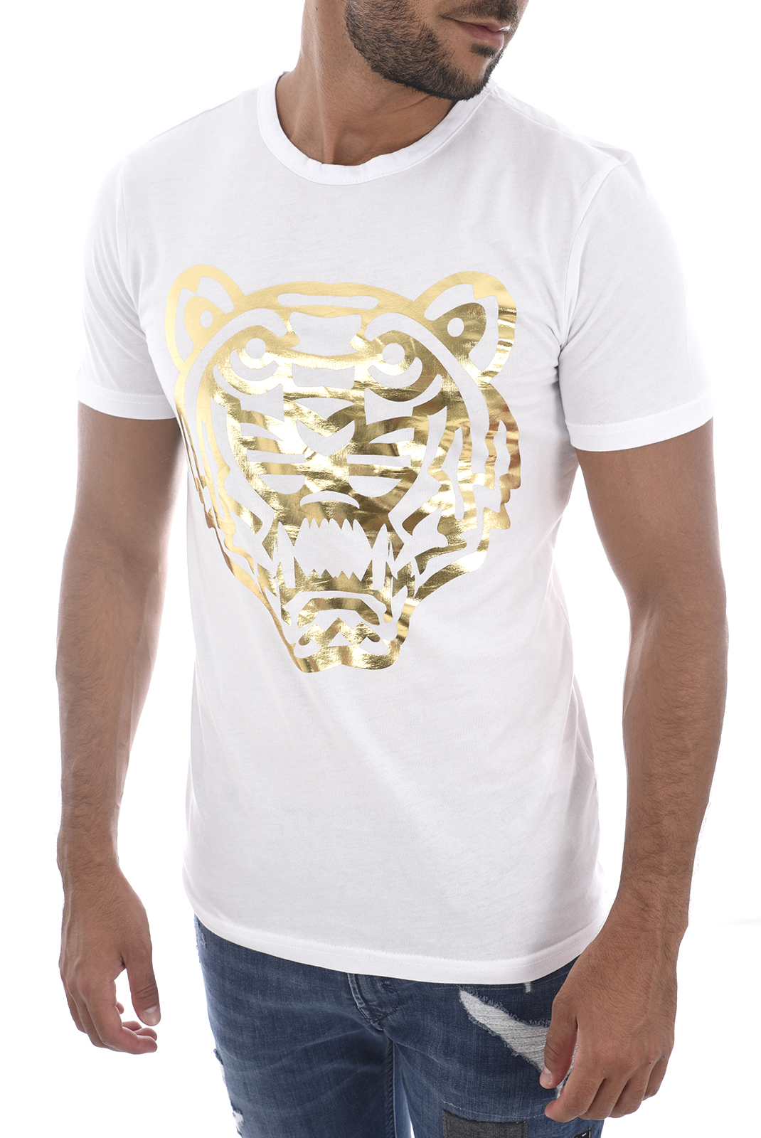 T-S manches courtes  Goldenim paris 1457 TIGRE BLANC