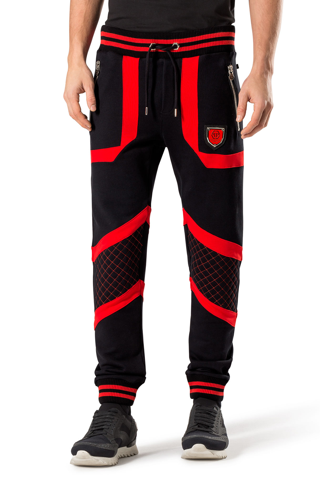 4f2bd7a579ef3 ... Pantalons Philipp plein MJT0049 SO TWO 02R4 BLACK RED ...