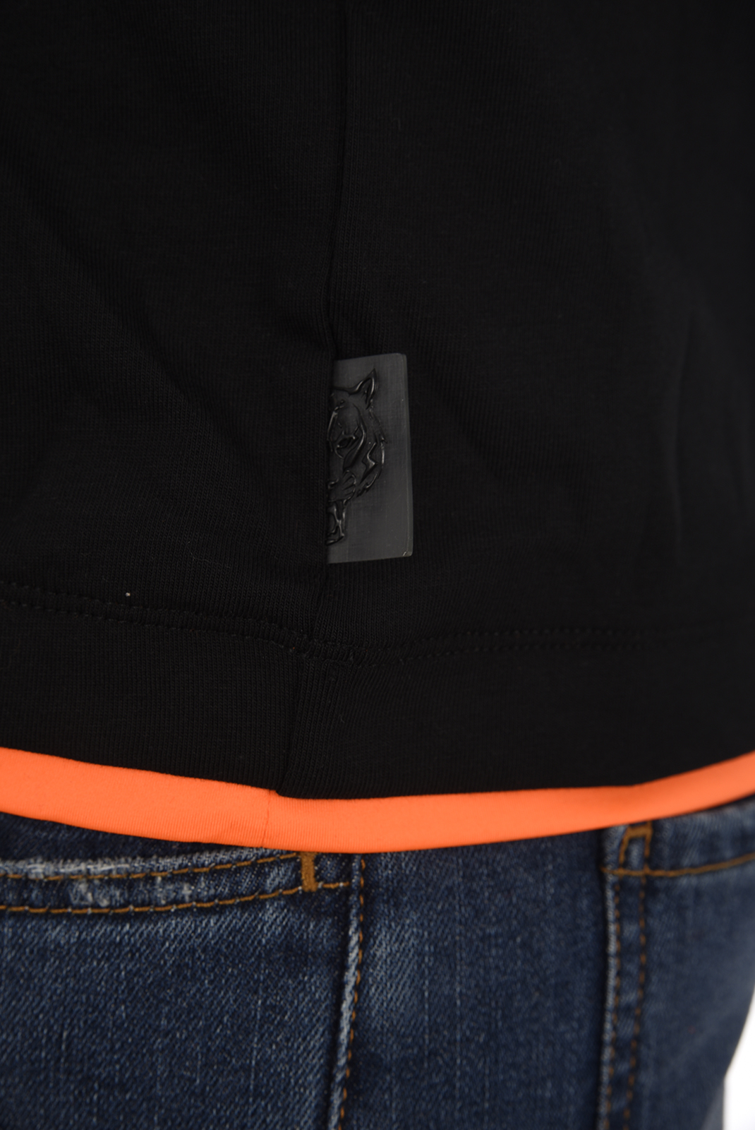 Polos  Plein Sport MTK2161 TIGER RUN 0220 BLACK/ORANGE
